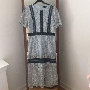 Pretty Little Thing Frill Sleeve Lace Midi Dress